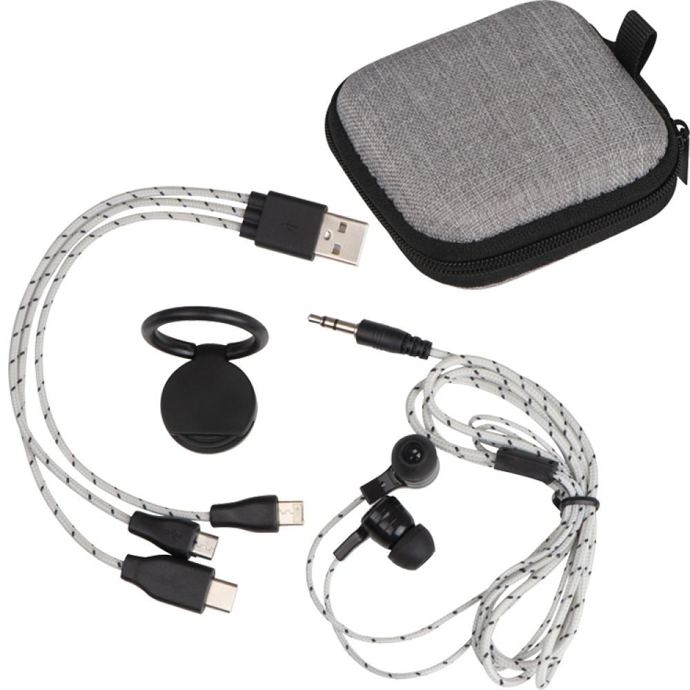 Zestaw podróżny z kablem do ładowania, słuchawkami i uchwytem na telefon