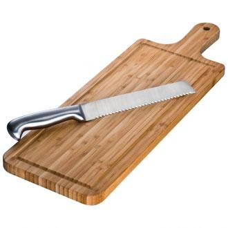 Bambusowa deska do krojenia z nożem